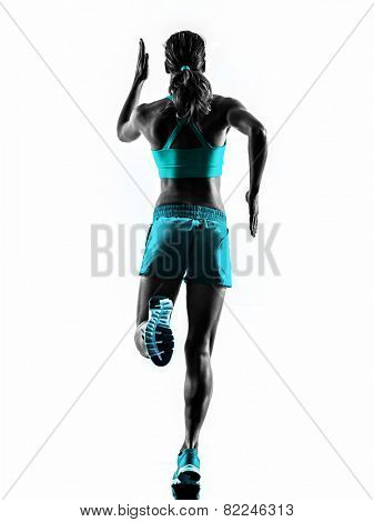 one caucasian woman runner running jogger jogging rear view in studio silhouette isolated on white background