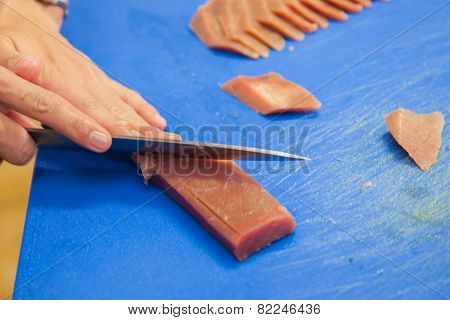 Cutting Tuna Steak