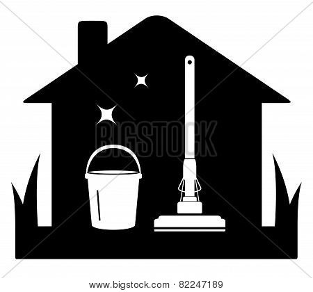 Cleaning Black Isolated Icon