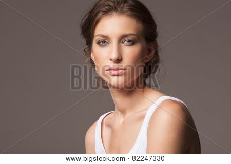 Face of a sexy young caucasian woman with natural makeup