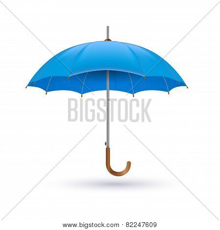 Vector illustration of classic elegant opened blue umbrella isolated on white background.