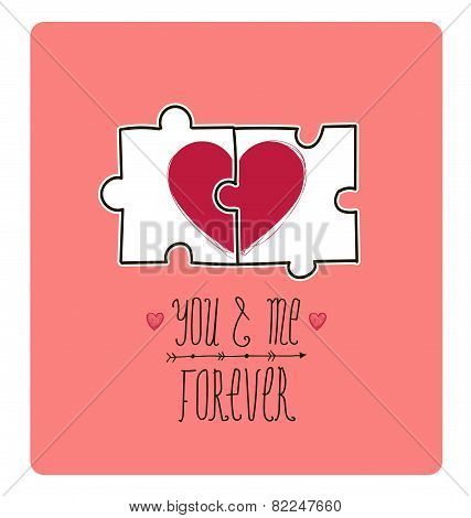 Vector valentine card. Creative idea - puzzle with 2 parts of heart make 1, love