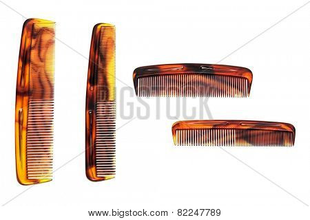 Set of beautiful comb on a white background