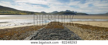 Panoramic Scottish Landscape With River And Mountains In Highlands. Scotland