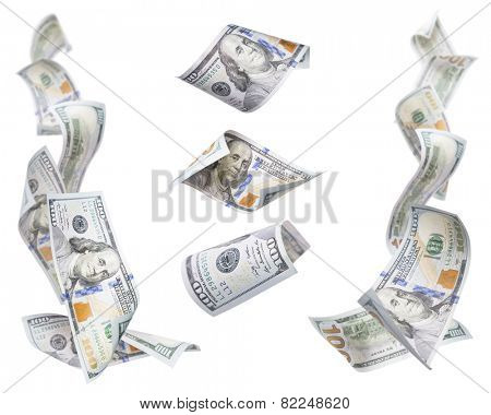 Set of Left and Right Corner Frames of Falling or Floating $100 Bills with 3 Isolated on White.