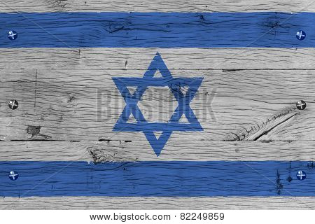 Israel National Flag Painted Old Oak Wood Fastened