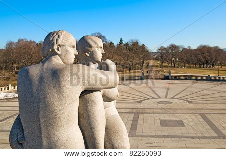 Oslo. Norway. The Vigeland Park. Two young women