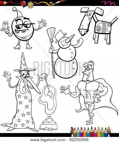 Fantasy Set Cartoon Coloring Book