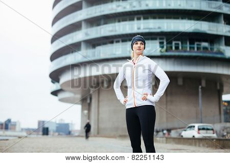 Fitness Woman Standing On Street