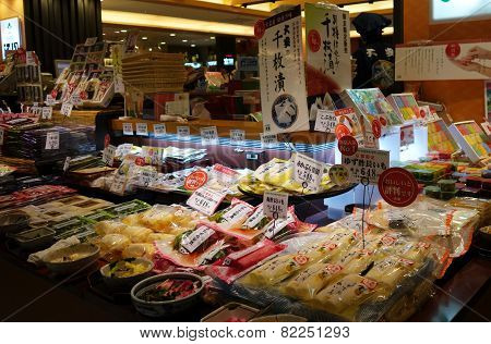 Various Marinated Stuffs Are Being Sold In A Shop In Kyoto Station