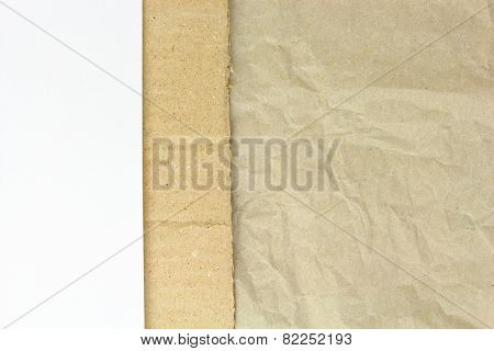 Recycled Crumpled Paper,carton And White Blank Papper Background
