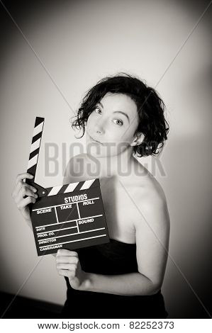 Seductive Actress With Clapperboard, Vintage Black And White Portrait