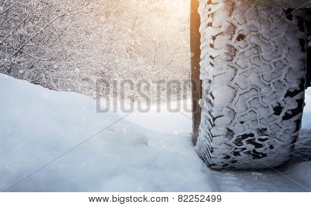 Tire On The Snowy Road