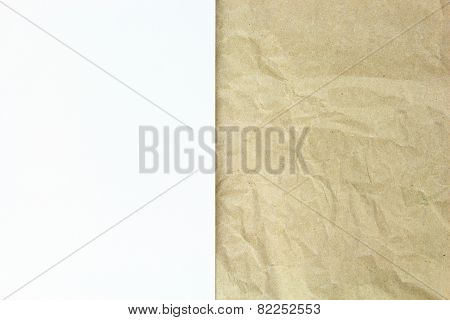 Old Recycled Crumpled Paper And White Blank Papper On Top Background