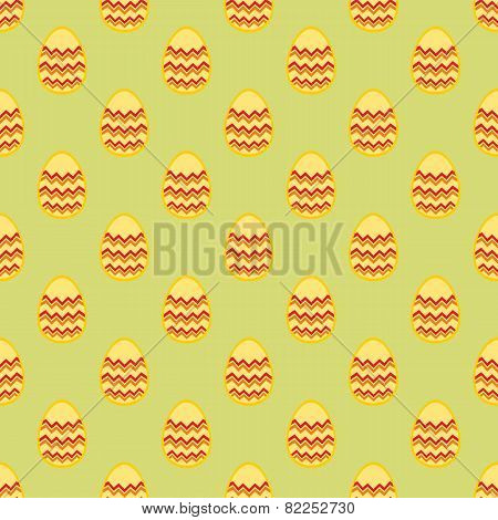 Tile pattern with easter eggs on green background