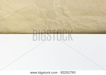 Old Recycled Crumpled Paper And White Sheet Papper On Top Background