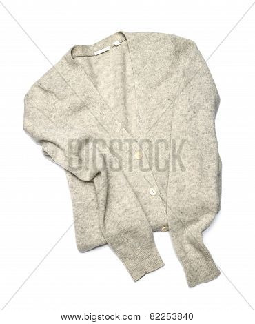 Grey Pullover Isolated On White Background