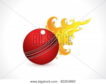 Abstract Shiny Cricket Ball With Fire
