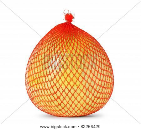 Yellow pomelo wrapped in plastic and mesh