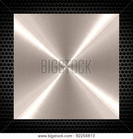 Shiny stainless steel metal background with holes metal frame