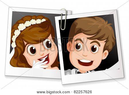 Illustration of two wedding photos