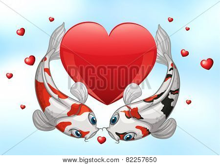 Illustration of two kois with hearts background