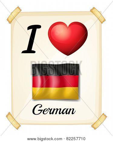 Illustration of i love german banner