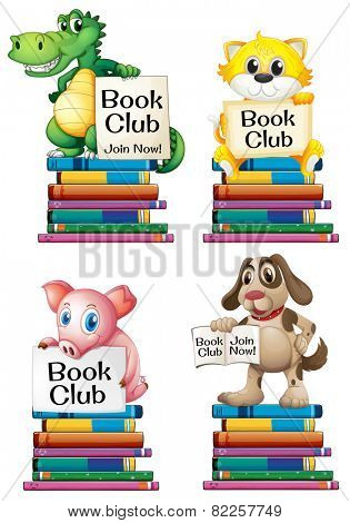 Illustration of different animals and books