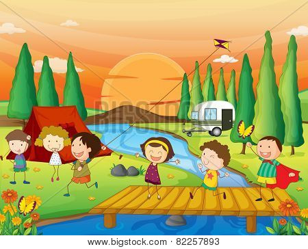 Illustration of children playing kite at the campground