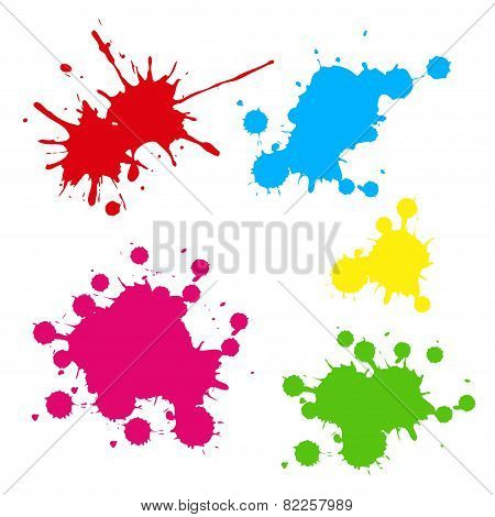 Collection of colorful paint splash. Vector set of brush strokes. Isolated on white background