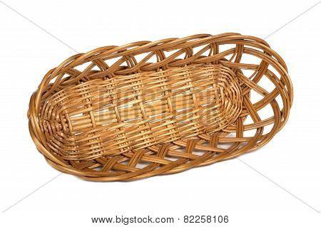 Empty Wooden Basket On White Background