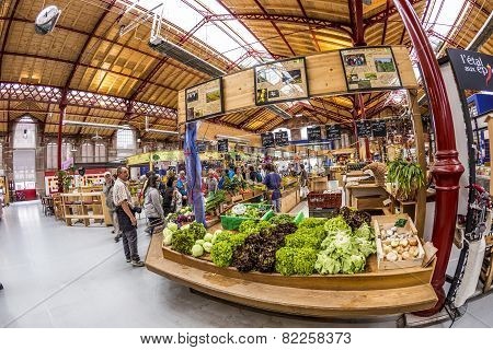 People Shop In The Old Market Hall In Colmar