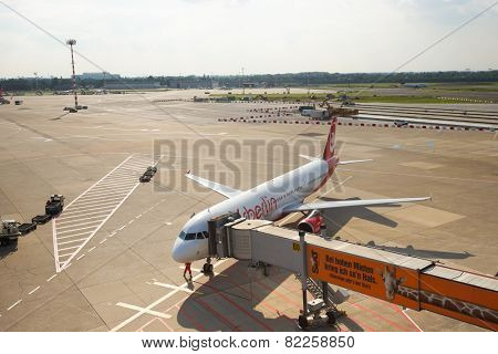 DUSSELDORF, GERMANY - SEPTEMBER 16: airport airfield on September 16, 2014. Dusseldorf Airport is the international airport of Dusseldorf, the capital of the German state North Rhine-Westphalia.