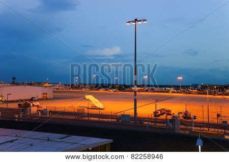 COLOGNE, GERMANY - SEP 18: airport runaway on September 18, 2014. Cologne Bonn Airport is the international airport of Cologne and also serves the former German capital, Bonn
