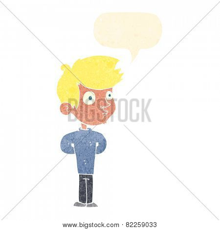 cartoon boy staring with speech bubble