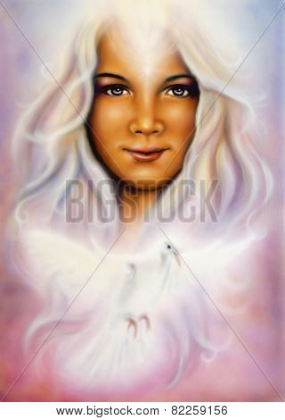 Airbrush Painting Of A Young Girl's Angelic Face With Radiant White Hair And A Shining Dove