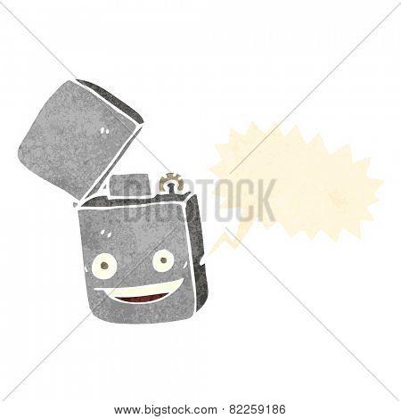 cartoon metal lighter with speech bubble