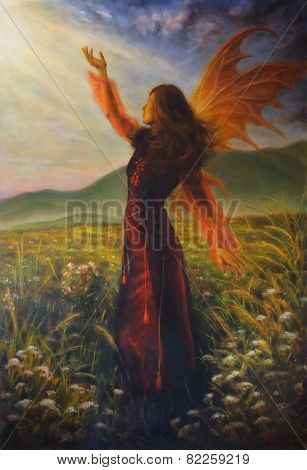 Airy Woman In A Historic Dress Standing In Rays Of Sunlight Amids A Wild Meadow