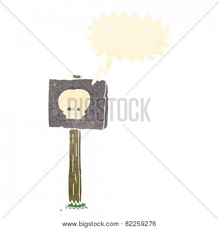 cartoon sign post with speech bubble