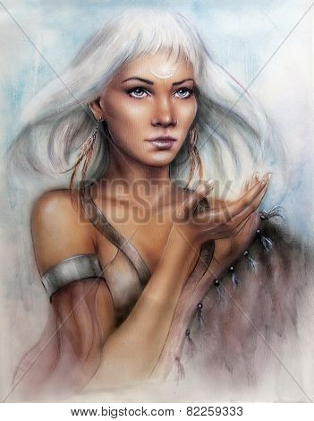 Young Enchanting Woman Indian Warrior With Feathers White Shiny Hair And A Palm Stretched