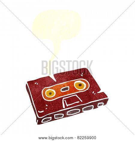 cartoon cassette tape with speech bubble