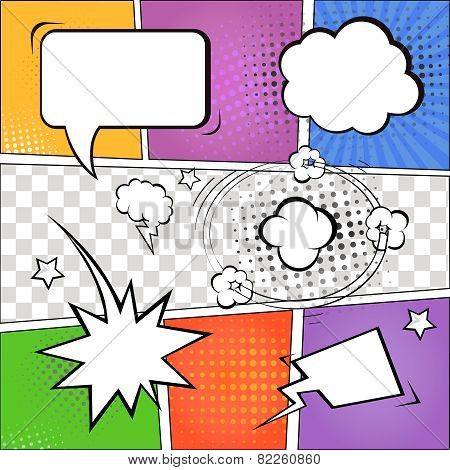 Comic speech bubbles and comic strip on colorful halftone background  illustration