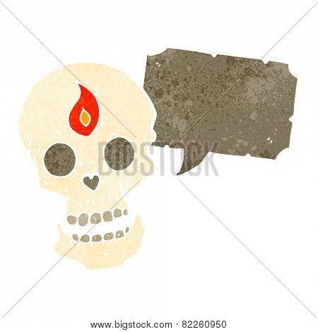 cartoon spooky mystic skull