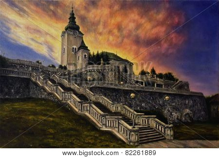 Oil Painting On Canvas Of A Church And A Staircase In A Sunset Light