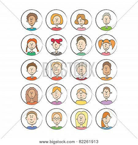 Big Vector Set Cartoon Avatars