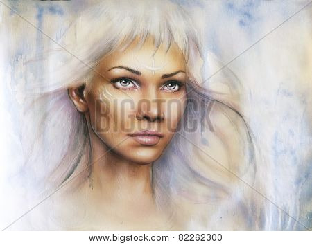 Beautiful Airbrush Portrait Of A Young Enchanting Woman Warrior With White Shiny Hair And A Direct L