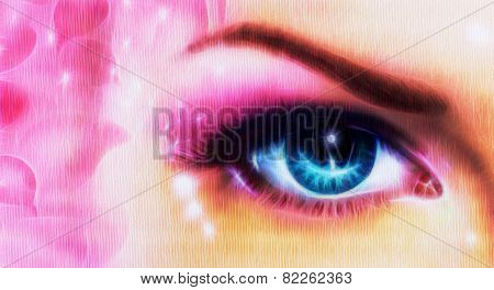 Blue Women Eyes make up Beaming  Up Enchanting From Behind A Bloming Rosa  Flower Fractal Efect