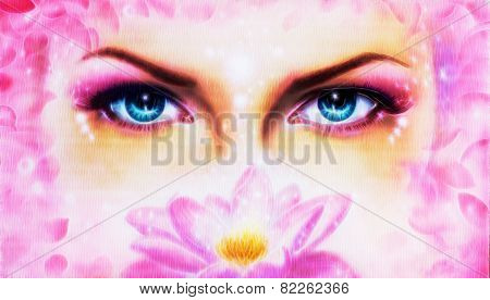 Eye Rosa Lotus Flower Fractal efect, make up art, eye contact