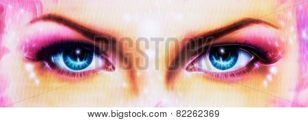 A Pair Of Beautiful Blue Women Eyes Beaming  Up Enchanting From Behind make up art, eye contact