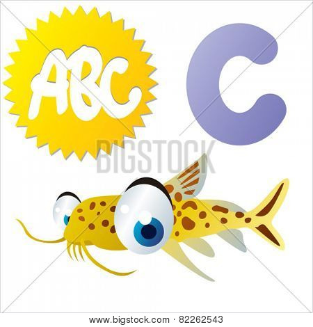 cute vector comic cartoon animals abc: C is for Catfish